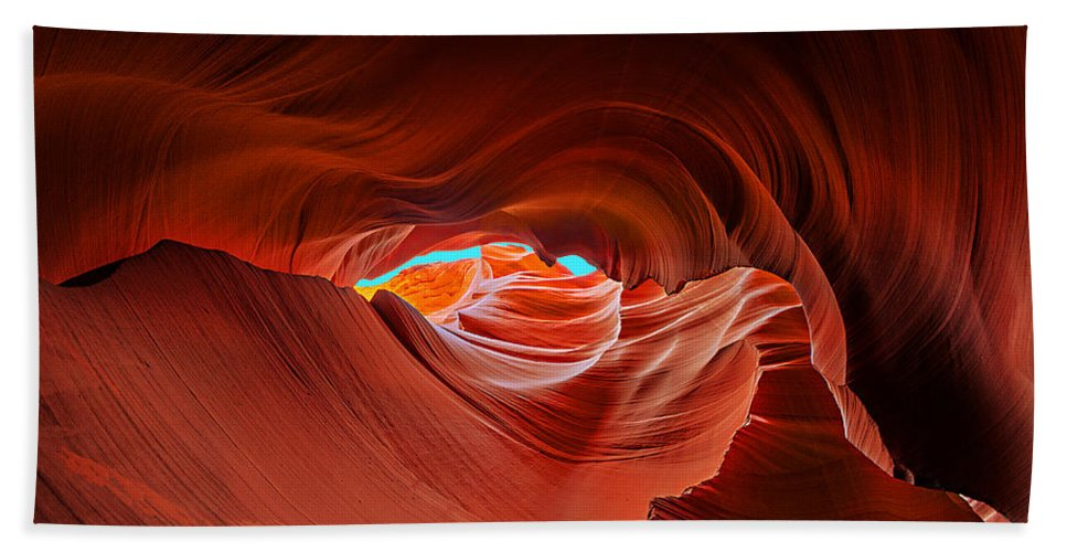 Antelope Canyon Hand Towel featuring the photograph Reach For The Sky by Jason Chu