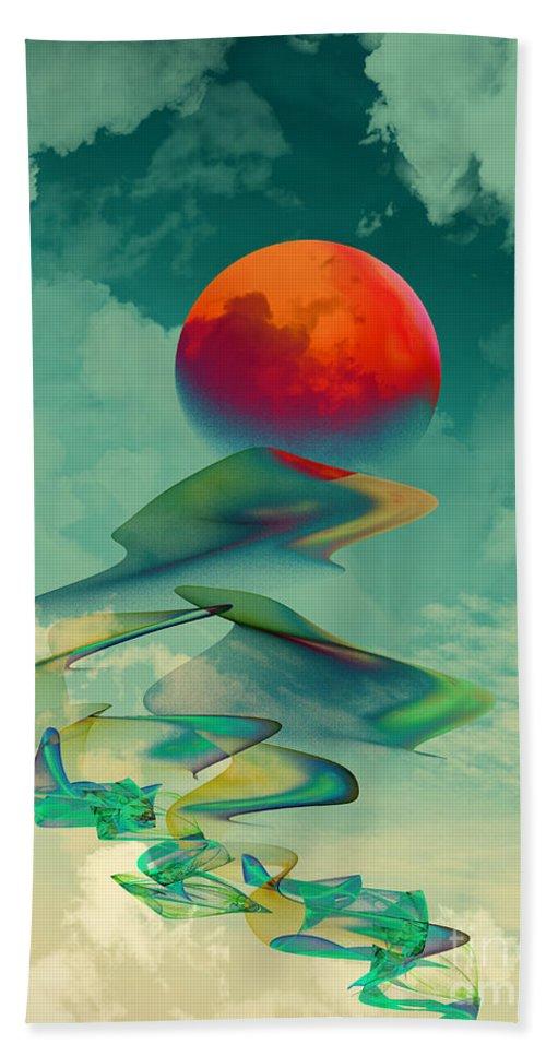 Abstract Bath Sheet featuring the digital art Reach The Sun - Portrait Format by Klara Acel