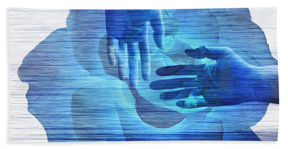 Surrealism Bath Sheet featuring the digital art Reaching In The Light by Fei A