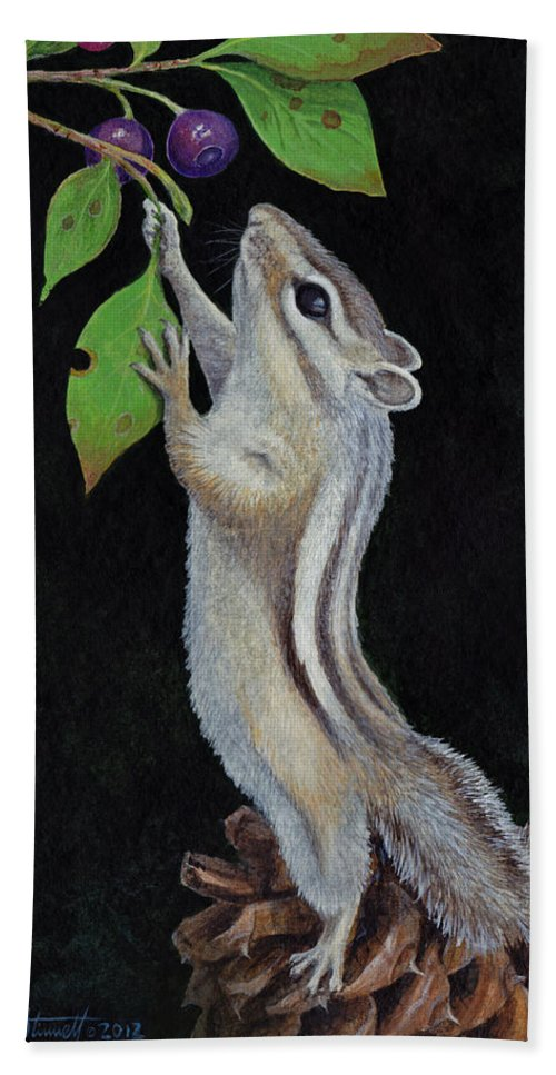 Chipmunk Bath Sheet featuring the painting Reaching by Mike Stinnett