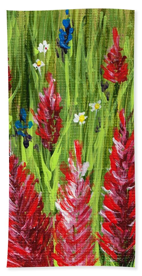 Grass Hand Towel featuring the painting Reaching Up by Anastasiya Malakhova