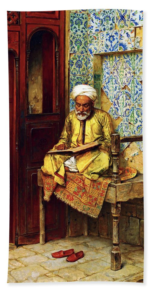 Orientalism Hand Towel featuring the photograph Reading In 1888 by Munir Alawi
