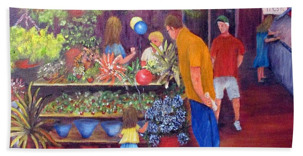 Market Bath Sheet featuring the painting Reading Terminal Market Flowers by Loretta Luglio