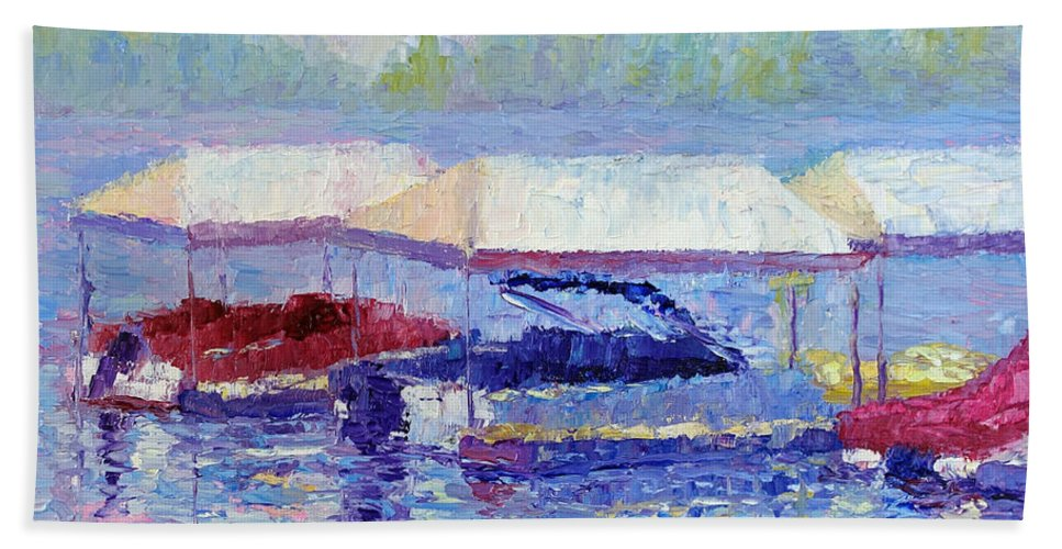 Lake Arrowhead Hand Towel featuring the painting Ready For Winter by Terry Chacon