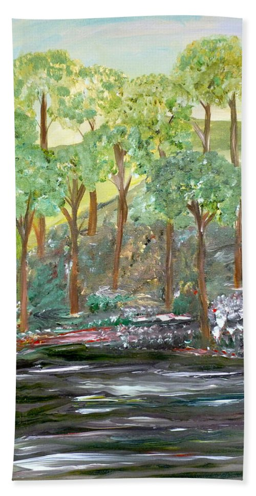Whimsical Landscape Bath Sheet featuring the painting Reasons For Waiting by Sara Credito