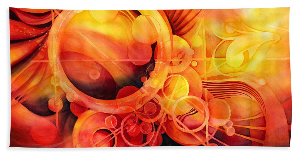 Watercolor Bath Towel featuring the painting Rebirth - Phoenix by Hailey E Herrera