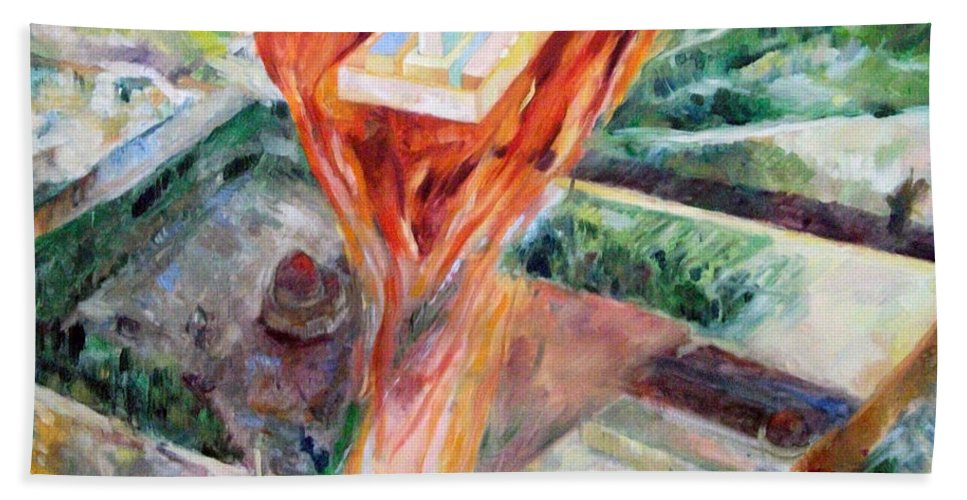 Bath Sheet featuring the painting Rebuilding 6 by David Baruch Wolk