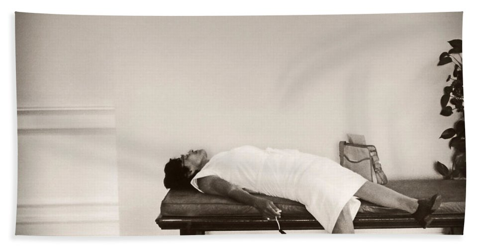 Recent Acquisitions Bath Sheet featuring the photograph Recent Acquisitions Vintage Documentary Type Photo Woman In Repose by Donna Haggerty