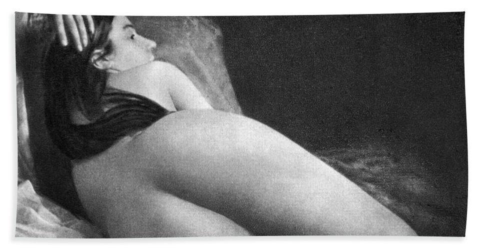 1850 Hand Towel featuring the photograph Reclining Nude, C1850 by Granger