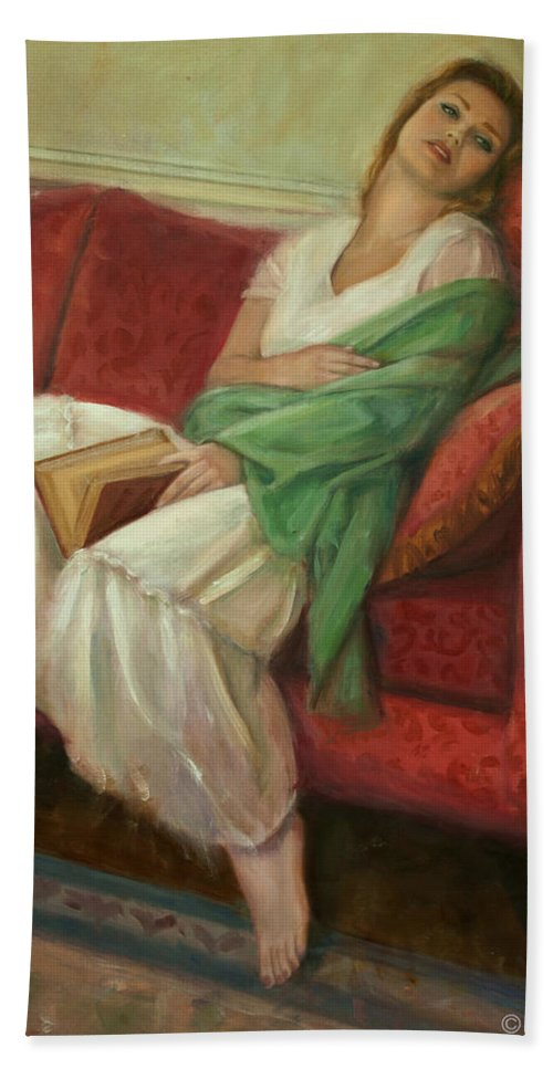 Young Girl Bath Sheet featuring the painting Reclining With Book by Sarah Parks