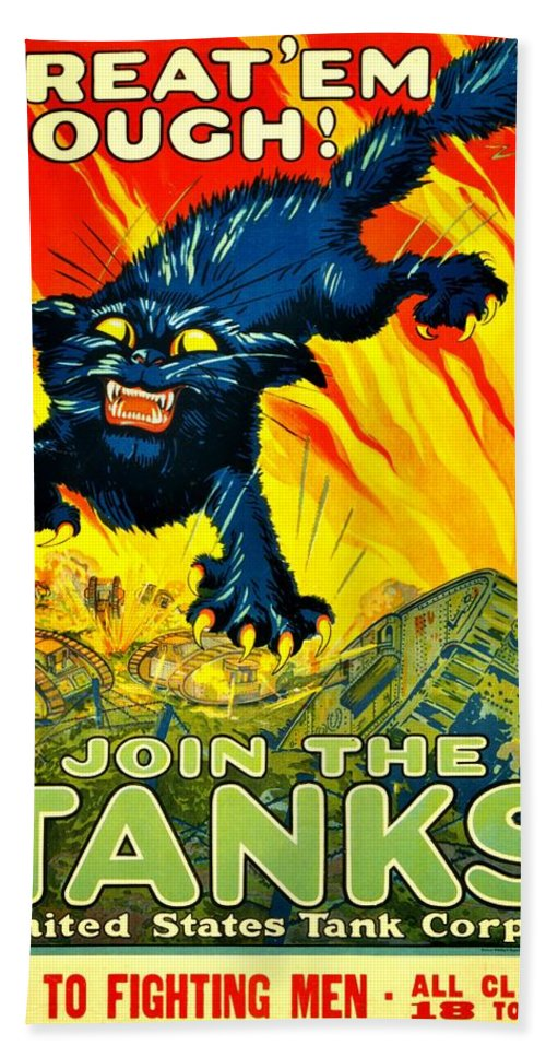 Vintage Bath Sheet featuring the photograph Recruiting Poster - Ww1 - Join The Tank Corps by Benjamin Yeager