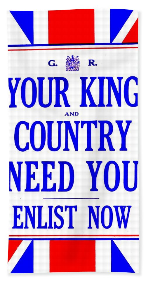 Great Britain Hand Towel featuring the photograph Recruiting Poster - Britain - King And Country by Benjamin Yeager