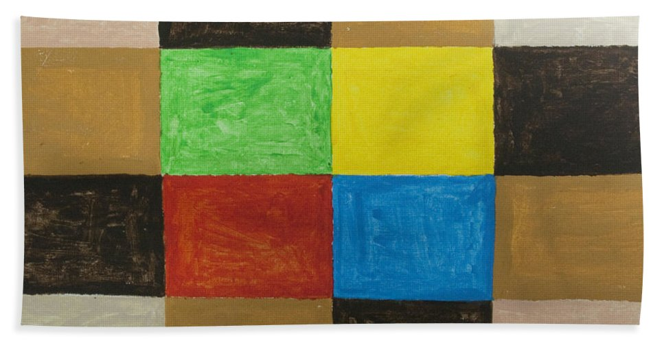 Rectangles Bath Sheet featuring the painting Rectangles by Stormm Bradshaw