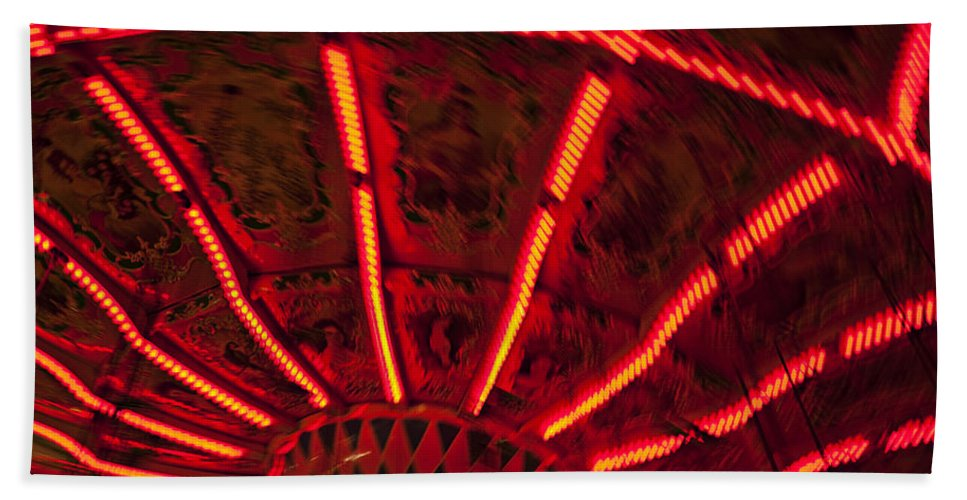 Carnival Bath Sheet featuring the photograph Red Abstract Carnival Lights by Garry Gay