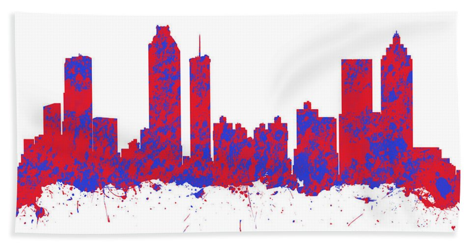 Atlanta Bath Sheet featuring the photograph Red And Blue Art Print Of The Skyline Of Atlanta Georgia Usa by Chris Smith