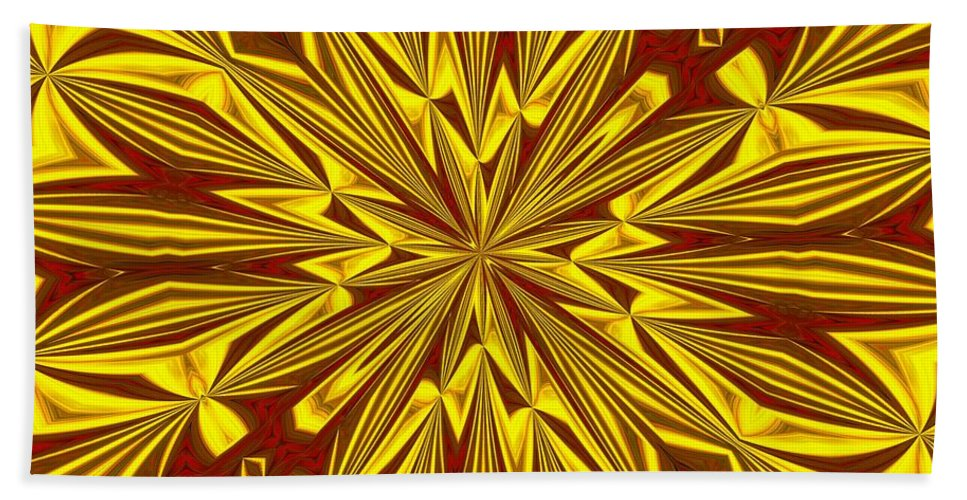 Christmas Bath Sheet featuring the digital art Red And Gold Christmas Kaleidescope by Taiche Acrylic Art