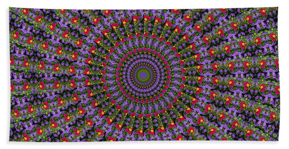 Abstract Bath Sheet featuring the digital art Red And Purple Flowers by Crystal Wightman