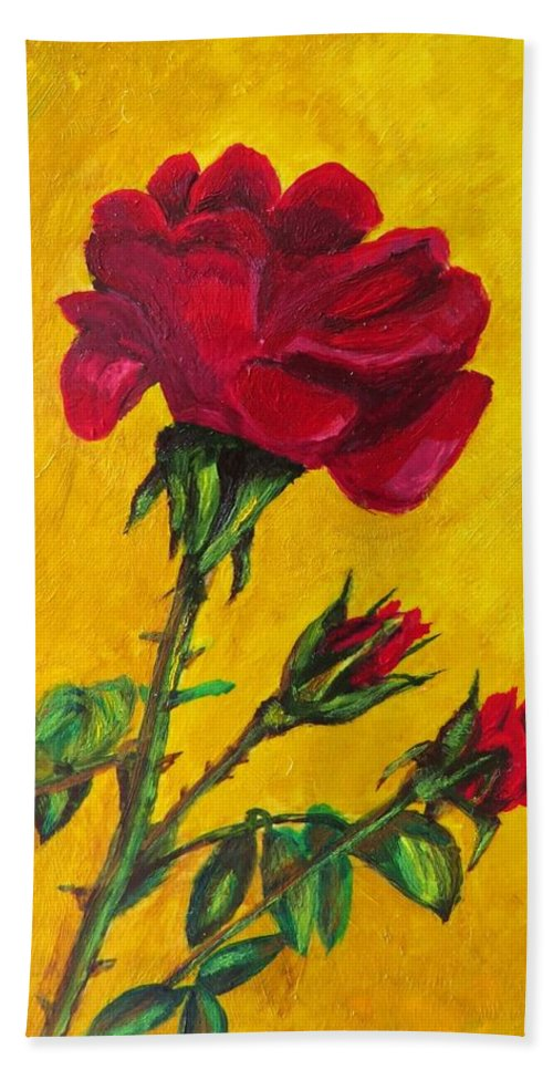 Roses Hand Towel featuring the painting Red And Small by Zina Stromberg