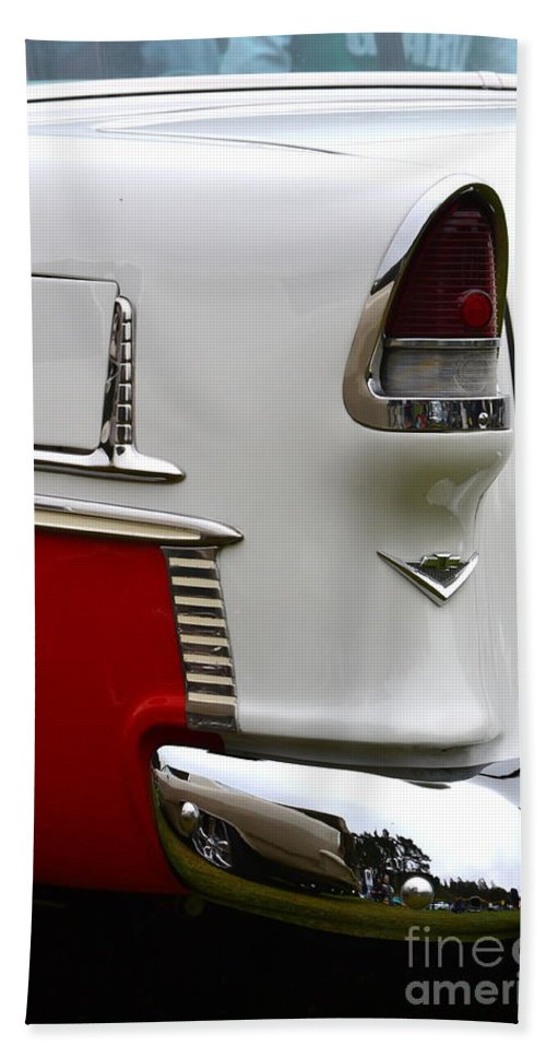 Bath Sheet featuring the photograph Red And White 1955 Chevy by Dean Ferreira