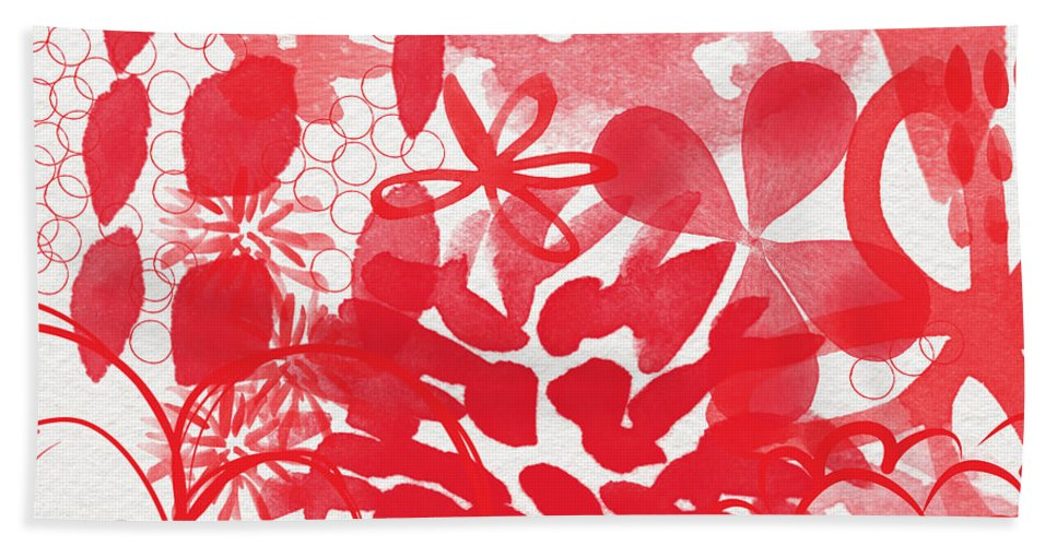 Red Flowers Hand Towel featuring the painting Red And White Bouquet- Abstract Floral Painting by Linda Woods