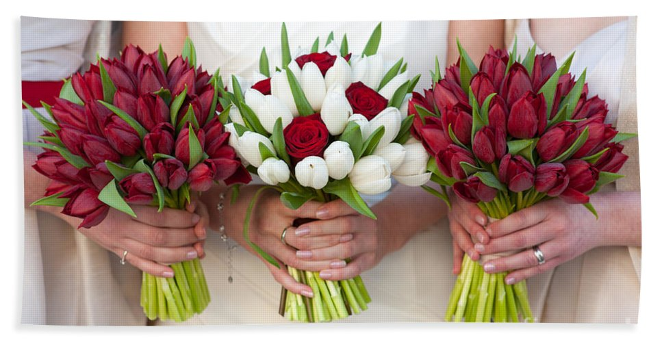 Bouquet Bath Sheet featuring the photograph Red And White Tulip And Rose Wedding Bouquets by Lee Avison