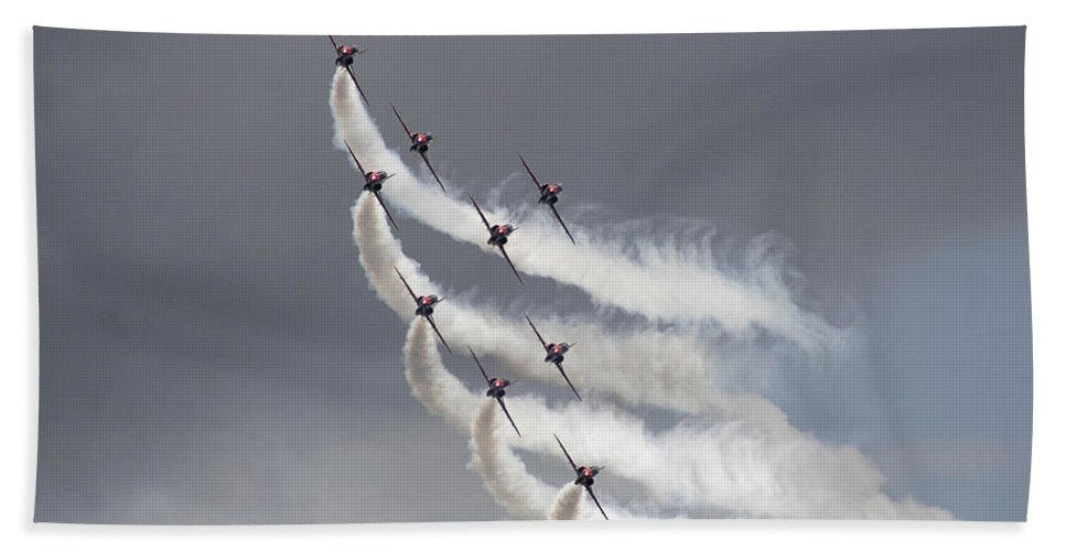 Aerobatics Hand Towel featuring the photograph Red Arrows Flying In Formation by Steve Ball
