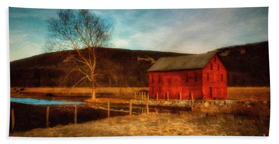 Barn Hand Towel featuring the photograph Red Barn At Twilight by Lois Bryan