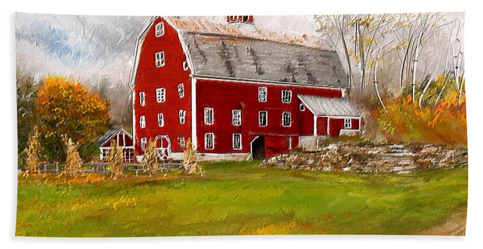 Farmhouse At Robinson Farm Bath Sheet featuring the painting Red Barn In Woodstock Vermont- Red Barn Art by Lourry Legarde
