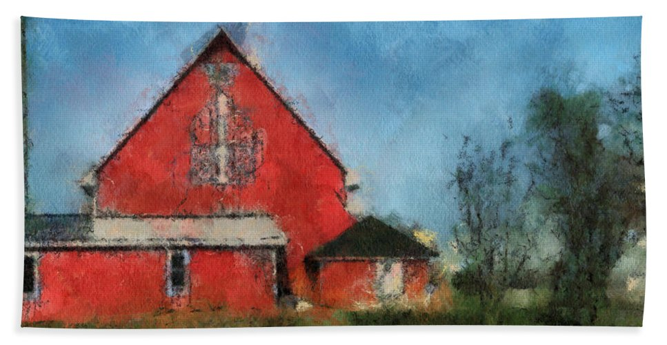 Red Barn Bath Sheet featuring the photograph Red Barn Rear View Photo Art 03 by Thomas Woolworth