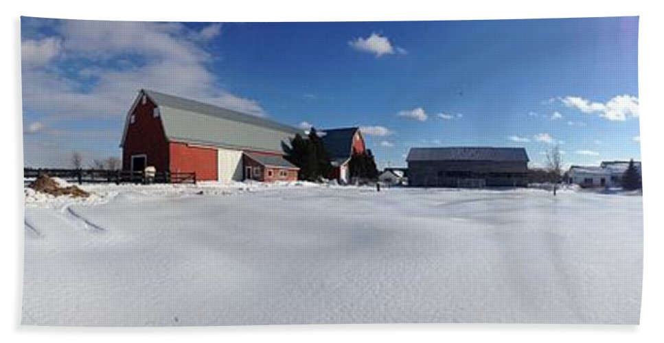 Red Barn Bath Sheet featuring the photograph Red Barn Series Feat. Snow by Michael French