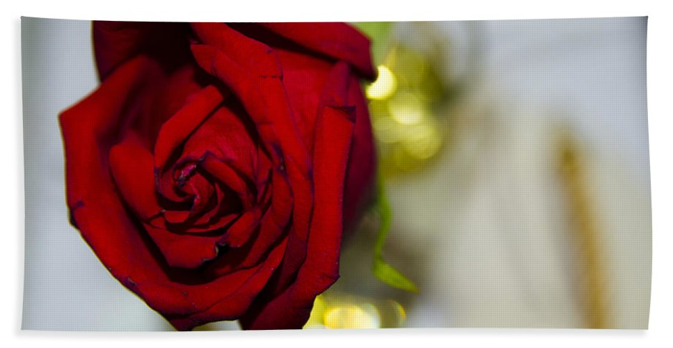 Red Rose Hand Towel featuring the photograph Red Beauty II by Sotiris Filippou