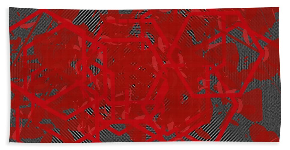 Red Bath Sheet featuring the digital art Red Black White Expressions Scramble Black Red by Sirron Kyles