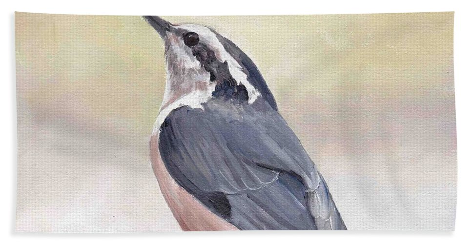 Bird Art Hand Towel featuring the painting Red Breasted Nuthatch by Charlotte Yealey
