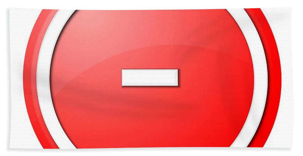 Red Hand Towel featuring the digital art Red Button Minus by Henrik Lehnerer