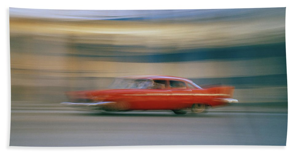 Speed Bath Sheet featuring the photograph The Red Car by Shaun Higson