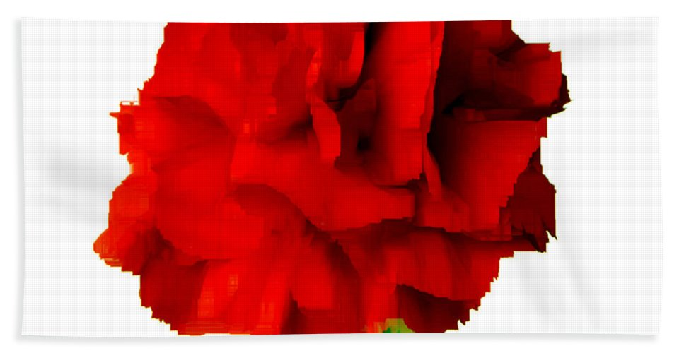 Red Bath Sheet featuring the digital art Red Carnation by Rafael Salazar