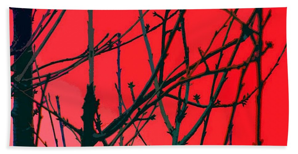 Red Hand Towel featuring the digital art Red by Carol Lynch