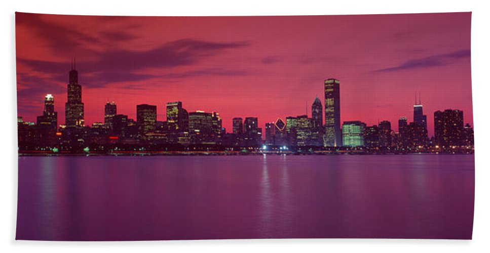 Photography Hand Towel featuring the photograph Red Chicago Sunset by Panoramic Images