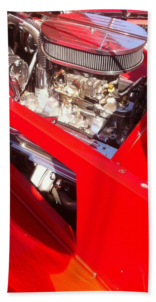 Red Classic Car Engine 2 Bath Sheet featuring the photograph Red Classic Car Engine 2 by Susan Garren