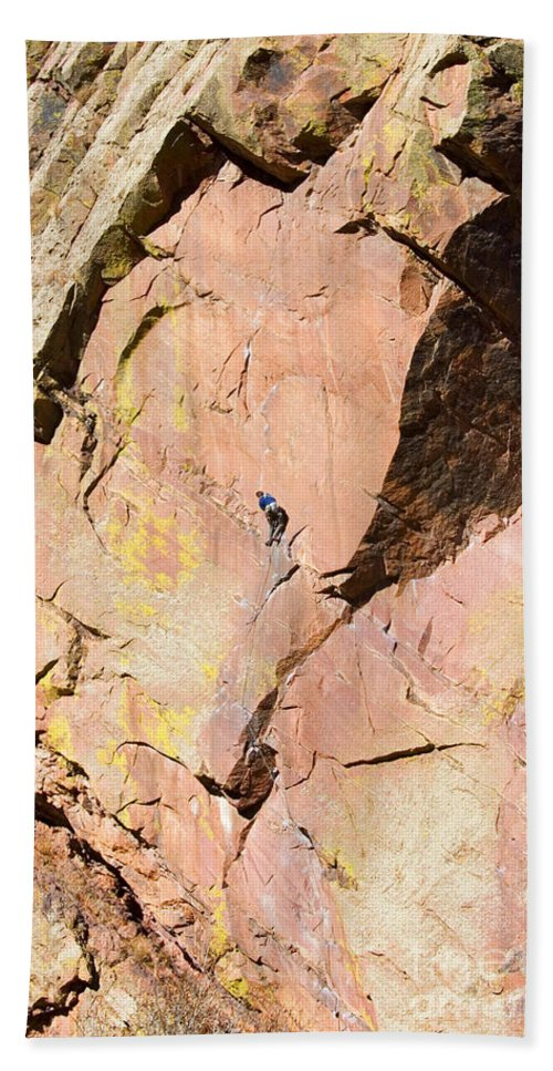 Mountain Climbing Hand Towel featuring the photograph Red Cliff by Steve Krull