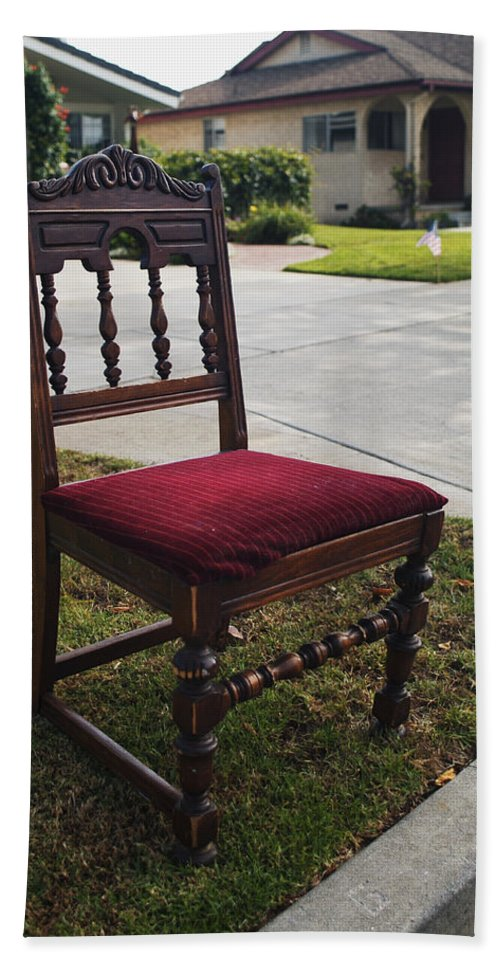 Abandoned Furniture Hand Towel featuring the photograph Red Cushion Chair by Robert Mollett