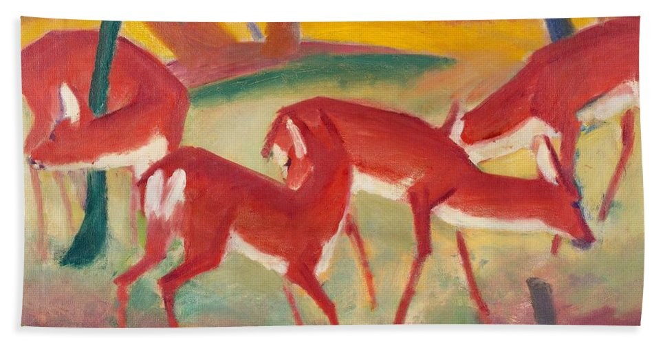 Blaue Reiter; Expressionist; German Expressionist; Red; Deer; Animal; Animals; Herd; Grazing; Landscape; Rural; Countryside; Nature; Wildlife; Sunset; Setting Sun; Calm; Peaceful; Tranquil; Atmospheric; Stylised Bath Sheet featuring the painting Red Deer 1 by Franz Marc