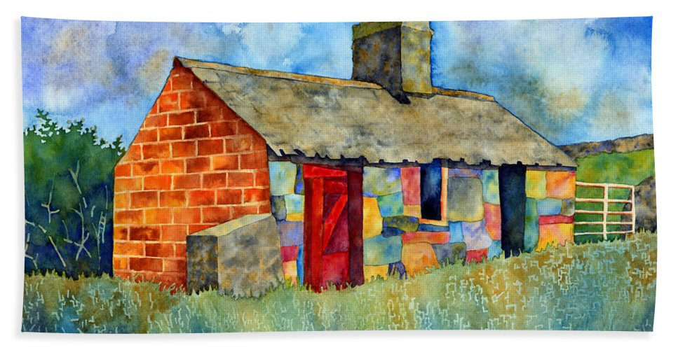 Painting Hand Towel featuring the painting Red Door Cottage by Hailey E Herrera