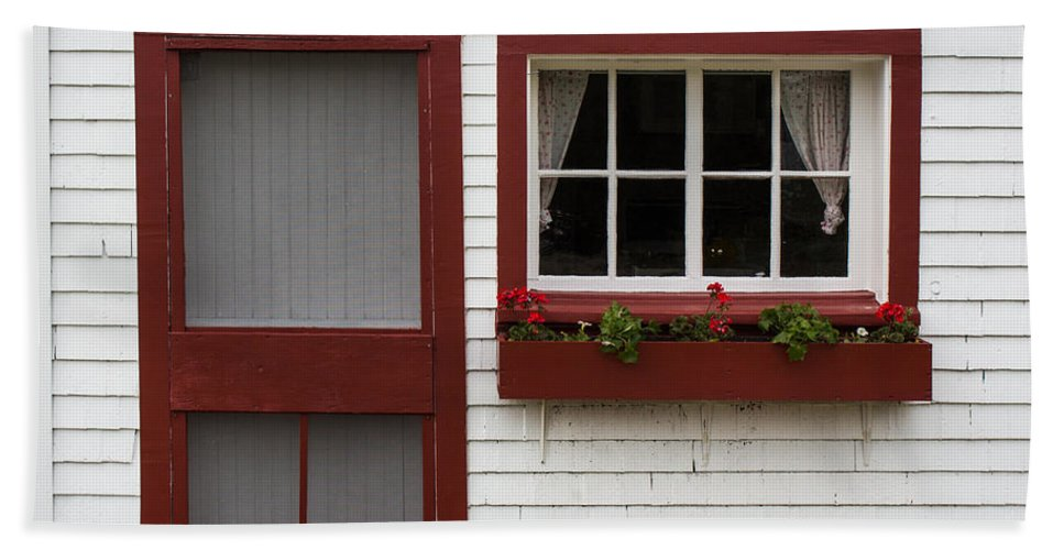 Red Hand Towel featuring the photograph Red Door Red Window by Barbara McMahon