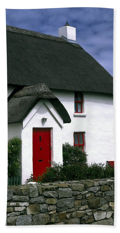 Thatched Roof White House Hand Towel featuring the photograph Red Door Thatched Roof by Sally Weigand