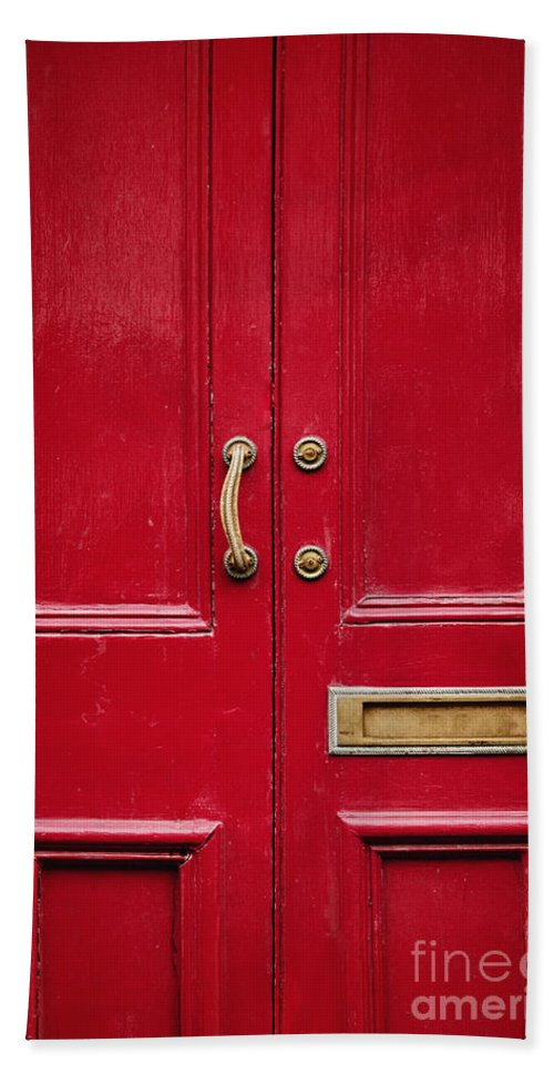 Red Bath Sheet featuring the photograph Red Doors by Margie Hurwich