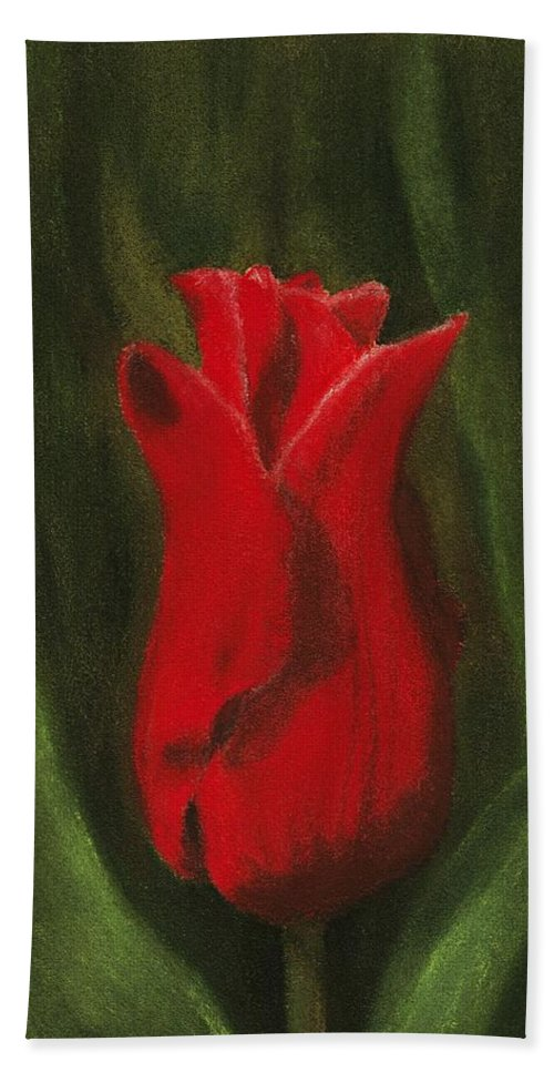 Single Hand Towel featuring the painting Red Elegance by Anastasiya Malakhova