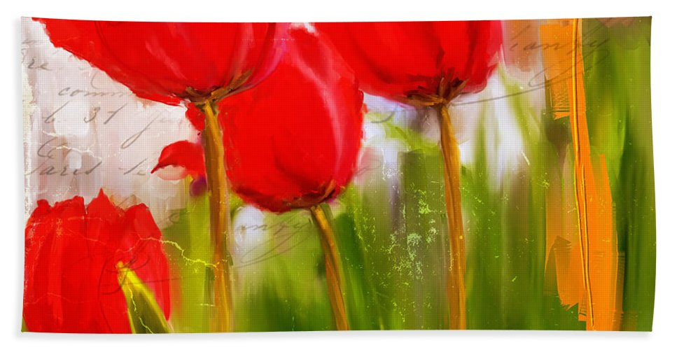 Red Tulip Bath Towel featuring the painting Red Enigma- Red Tulips Paintings by Lourry Legarde