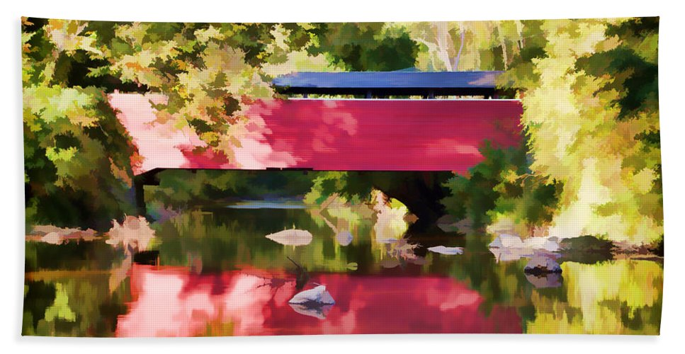 Fairhill Bridge Red Delaware Water Trees Bath Sheet featuring the photograph Red Fairhill Covered Bridge by Alice Gipson