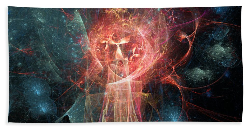 Abstract Hand Towel featuring the digital art Red Fire Angels With Tower #1 by Russell Kightley